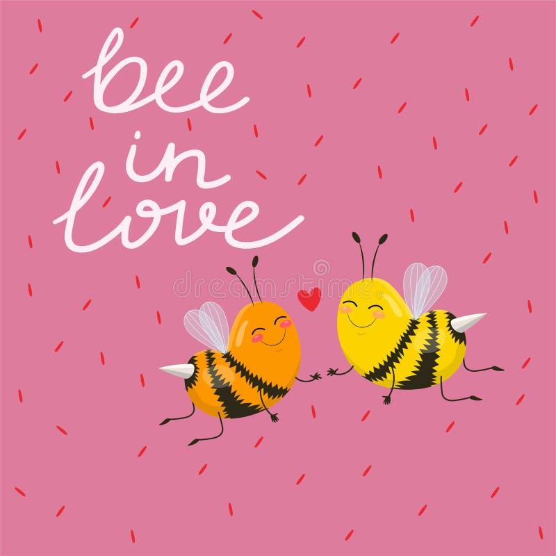 Abeja tipográfica del diseño en amor con una imagen linda de la historieta de un par de abejas para el diseño de la tarjeta del d libre illustration