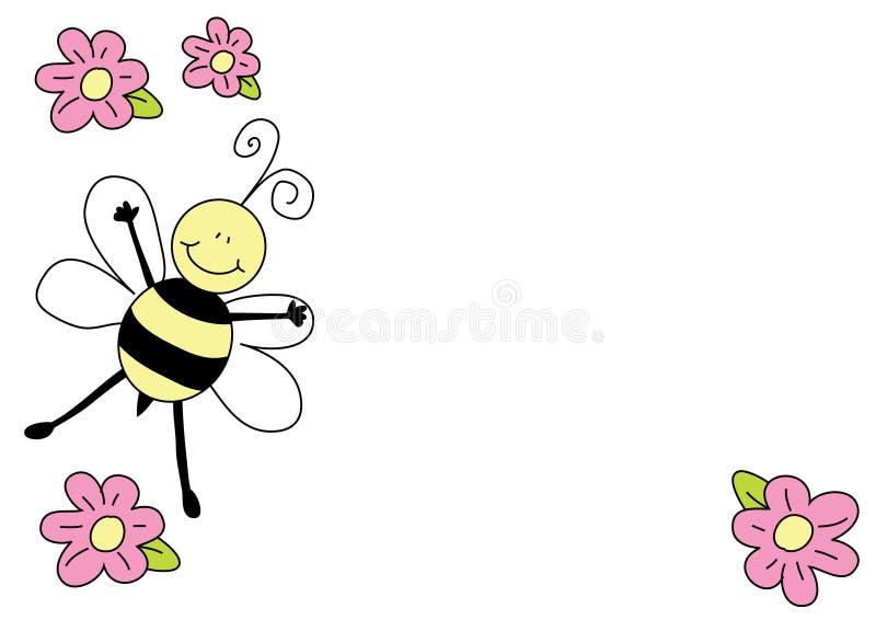 Abeja Y Flores Agradables Stock De Ilustración