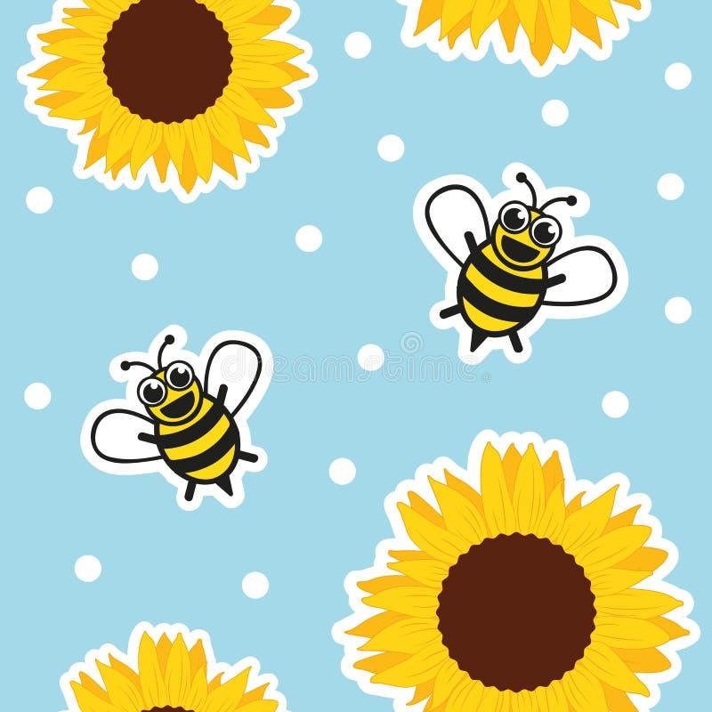 Abeja y girasol incons?tiles de la miel del modelo en fondo azul stock de ilustración