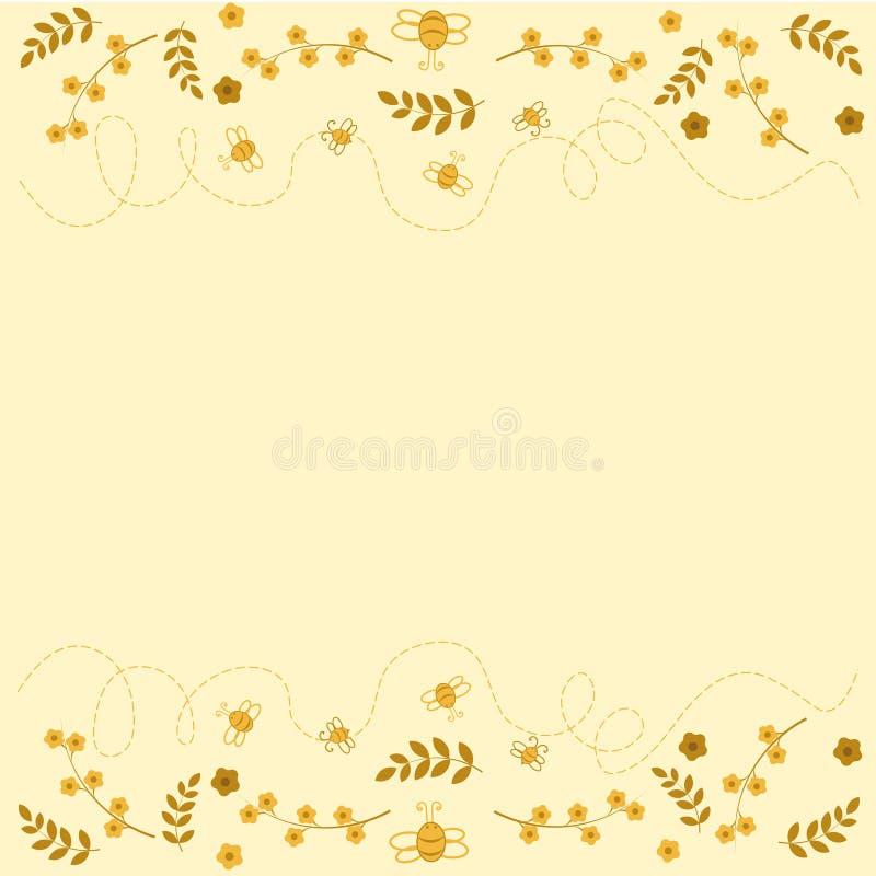Abejas con las flores y las hojas libre illustration