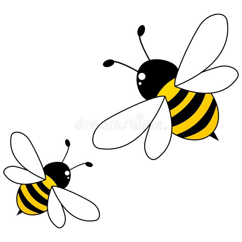 Abejas de la miel aisladas en el fondo blanco stock de ilustración