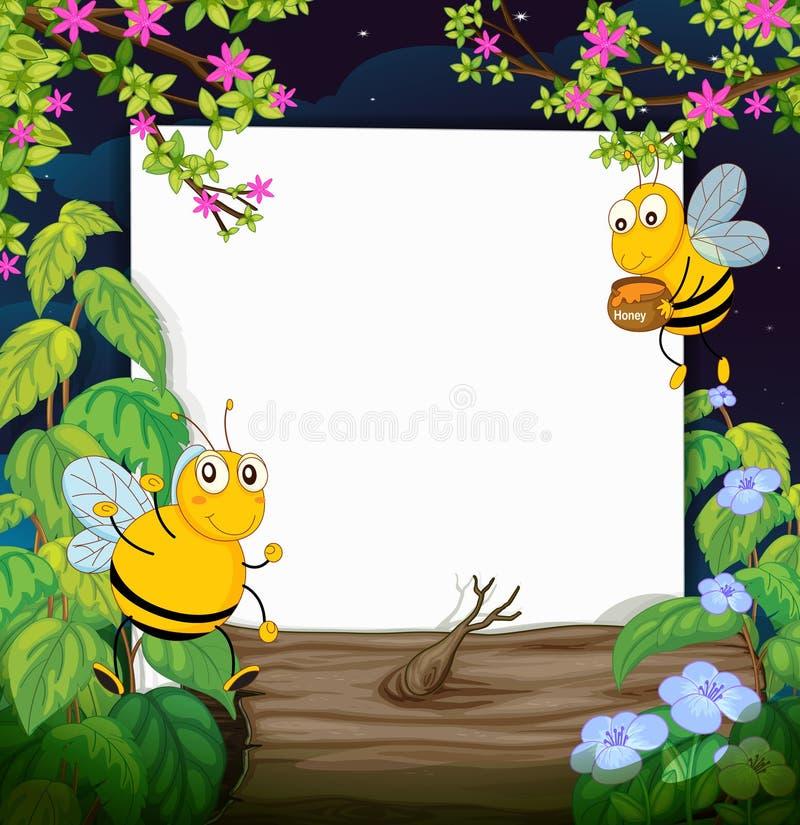 Abejas de la miel y un tablero blanco libre illustration