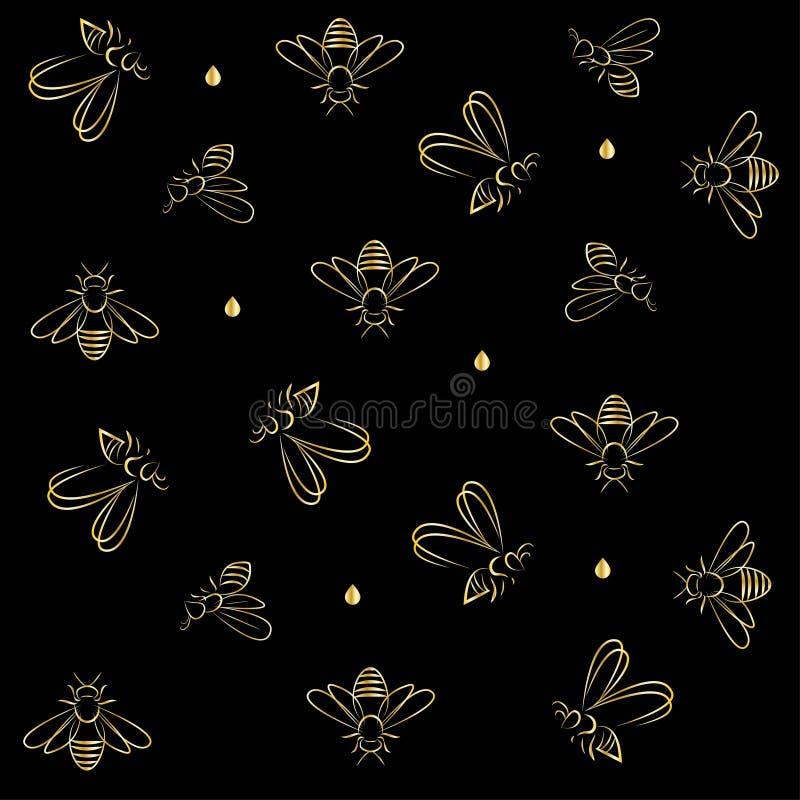 Abejas y esquema en oro en fondo negro ilustración del vector