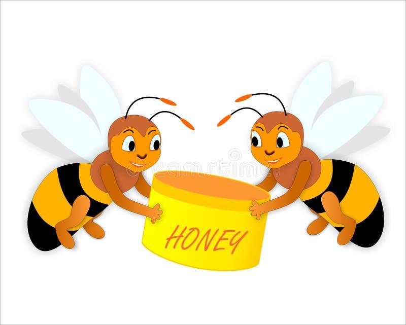 Abejas y miel ilustración del vector