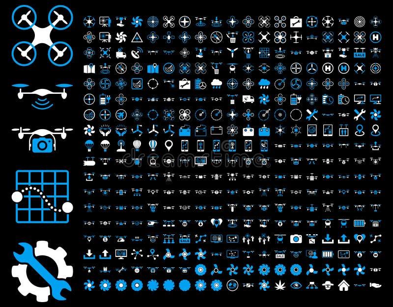 Abejones del aire e iconos de las herramientas del quadcopter libre illustration