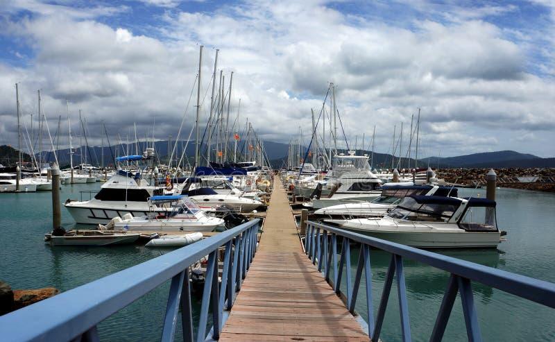 Abel-Punkt-Jachthafen, Airlie Strand, Australien. Luxuriöse Yachten und Segelboote. lizenzfreies stockbild