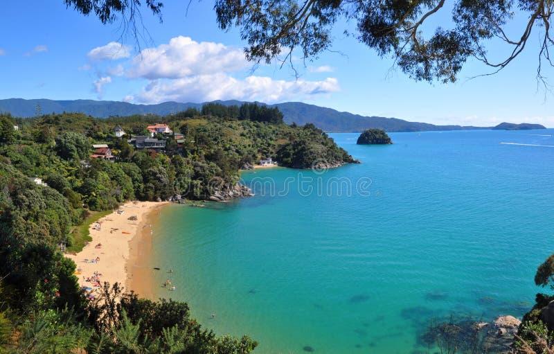 Abel Tasman Park Panorama, Nieuw Zeeland royalty-vrije stock fotografie
