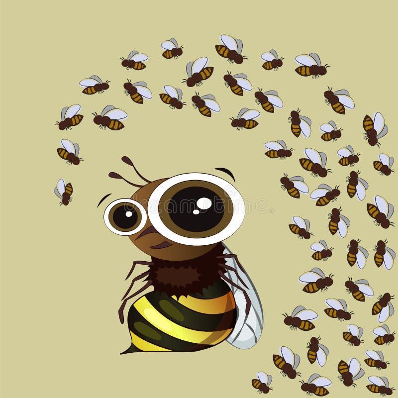Abelha bonita dos desenhos animados em um fundo amarelo hive ilustração stock