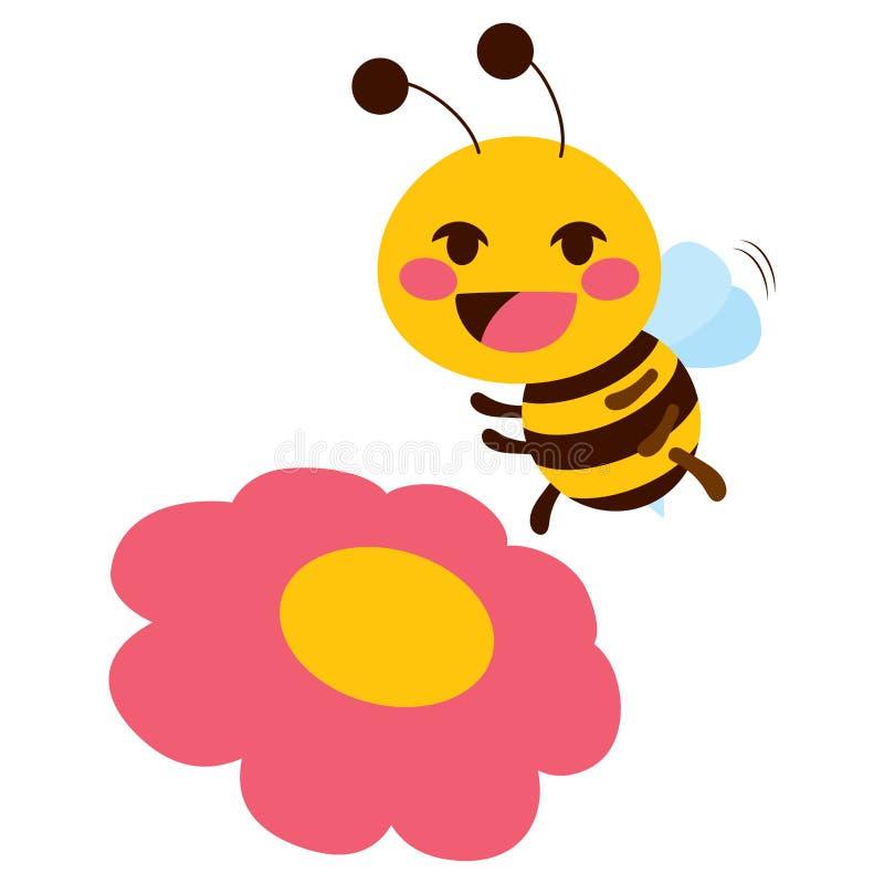 Abelha bonito da flor ilustração royalty free