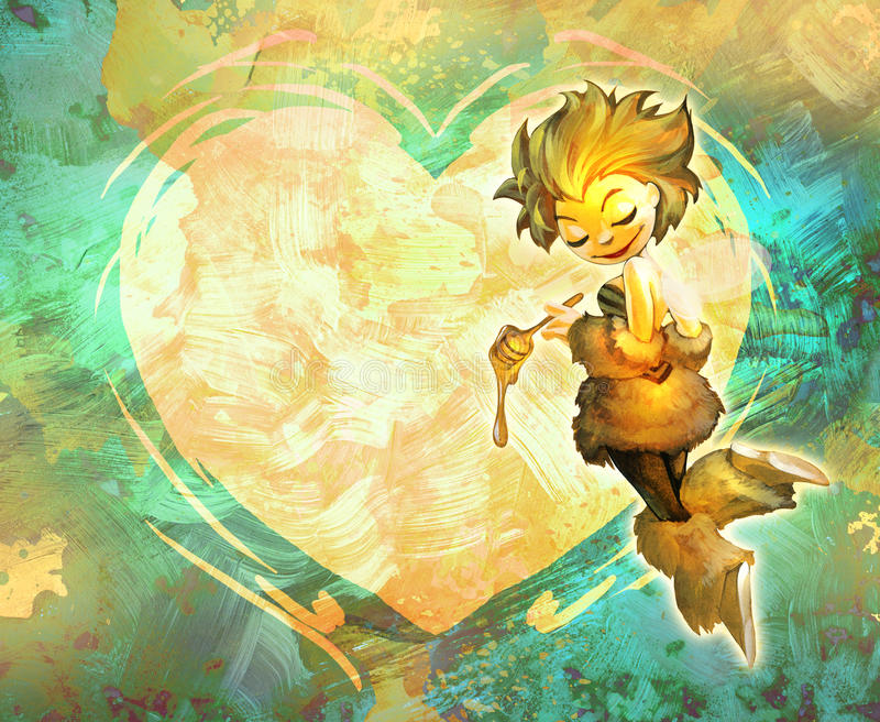 Abelha bonito dos desenhos animados que guarda o dipper do mel ilustração royalty free
