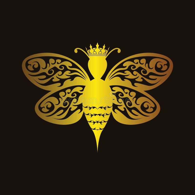 Abelha de rainha luxuosa ilustração do vetor