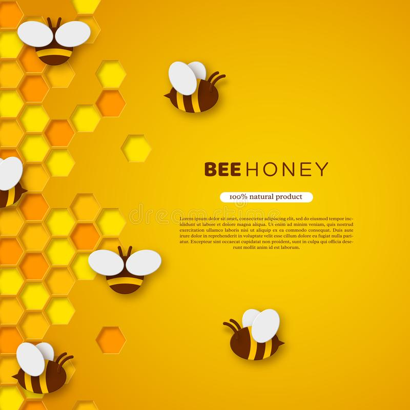 Abelha do estilo do corte do papel com favos de mel Projeto do molde para beekiping e produto do mel Fundo amarelo, vetor ilustração royalty free