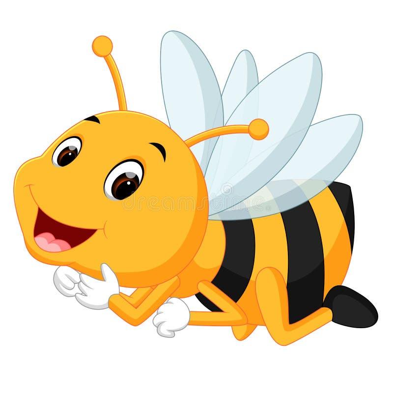 Abelha do mel em um fundo branco ilustração stock
