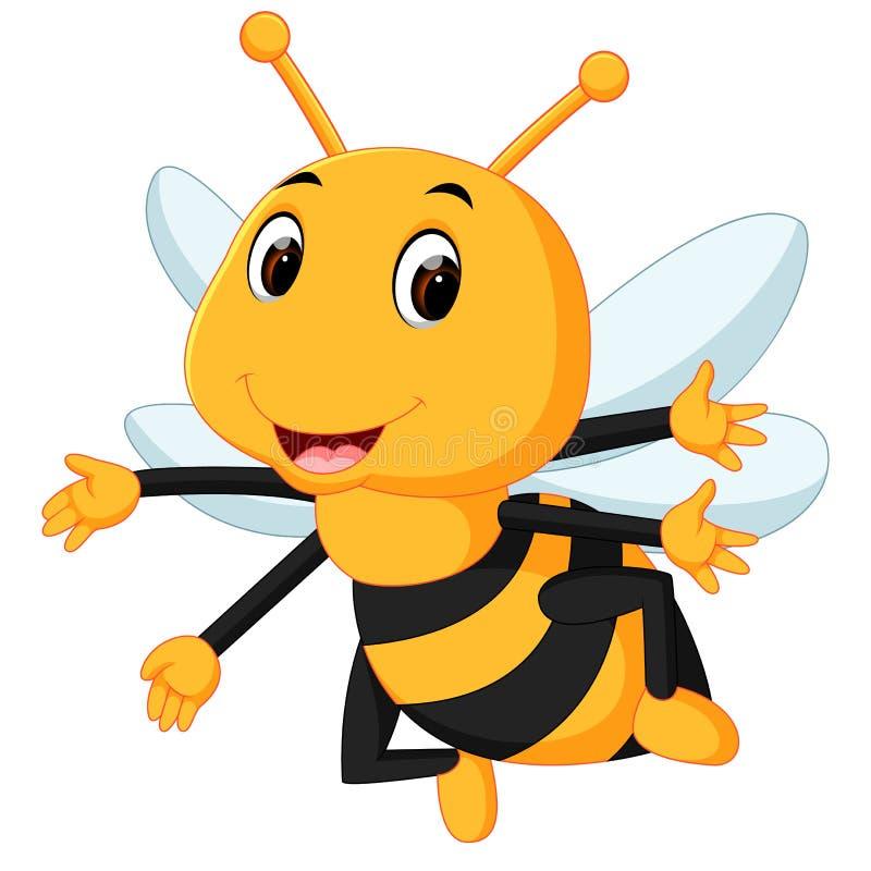 Abelha do mel em um fundo branco ilustração do vetor