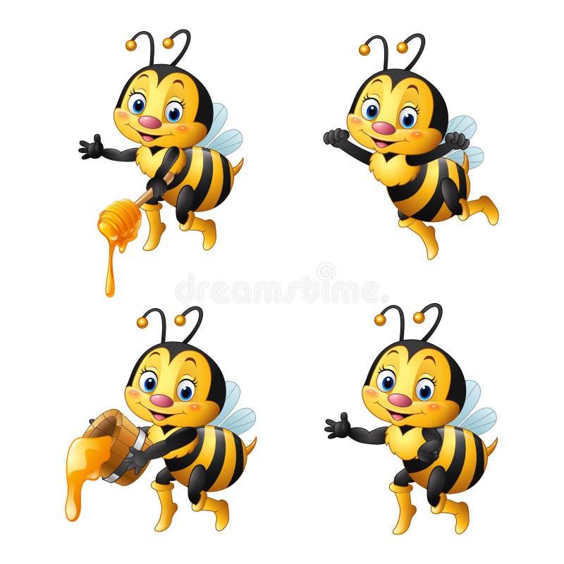 Abelha dos desenhos animados com as coleções do mel ajustadas ilustração stock
