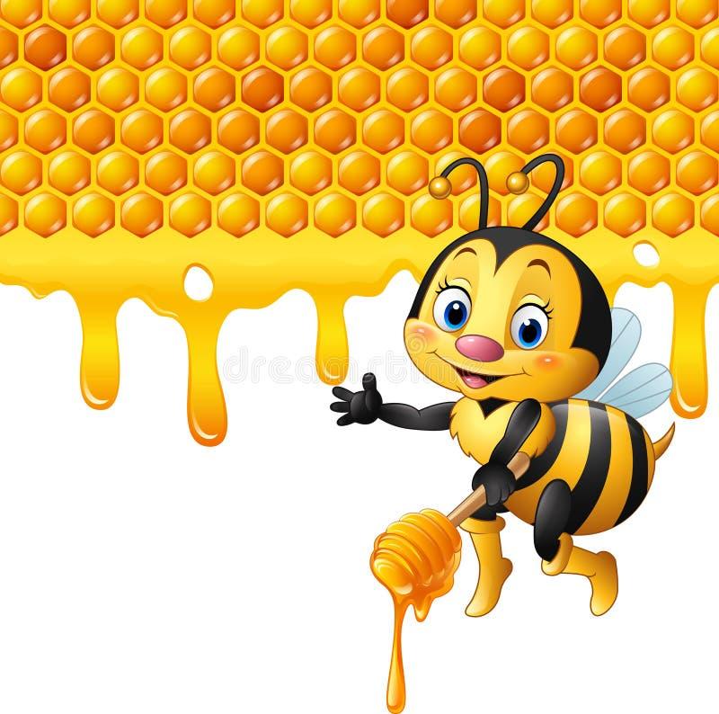 Abelha dos desenhos animados que guarda o dipper com o gotejamento do favo de mel e do mel ilustração royalty free