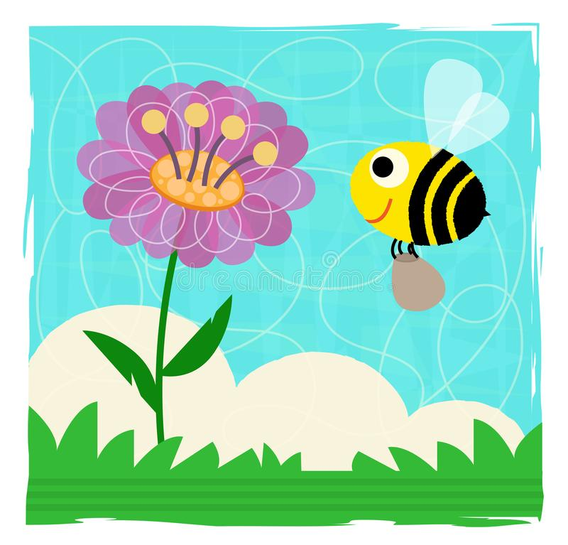 Download Abelha e flor ilustração do vetor. Ilustração de cute - 107525348