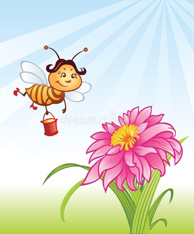 Abelha e flor engraçadas ilustração royalty free