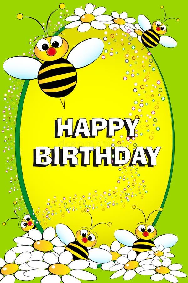 Abelha e flores - cartão de aniversário ilustração royalty free