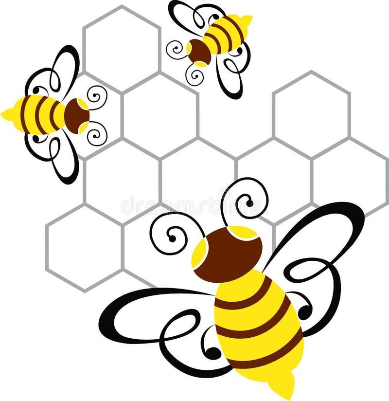 Abelha e mel ilustração stock