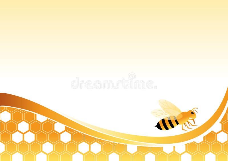 Abelha em pilhas do mel ilustração do vetor
