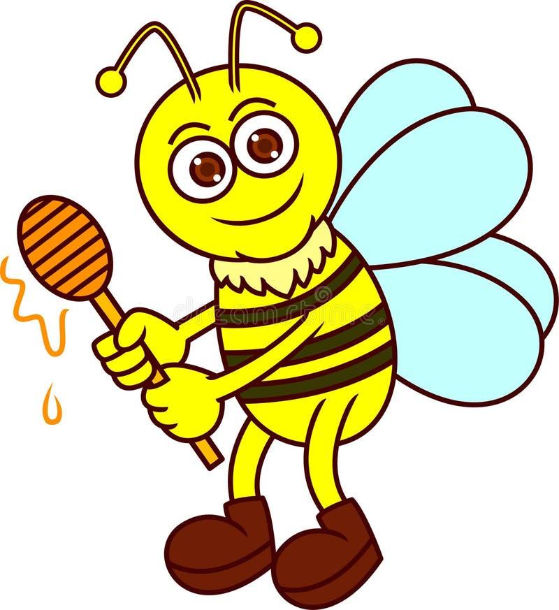 Abelha engraçada com Honey Dipper Cartoon ilustração stock