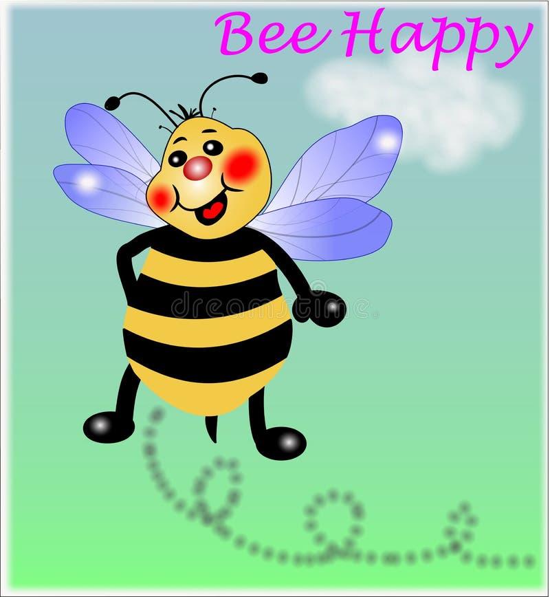 Abelha feliz, abelha pequena ilustração stock