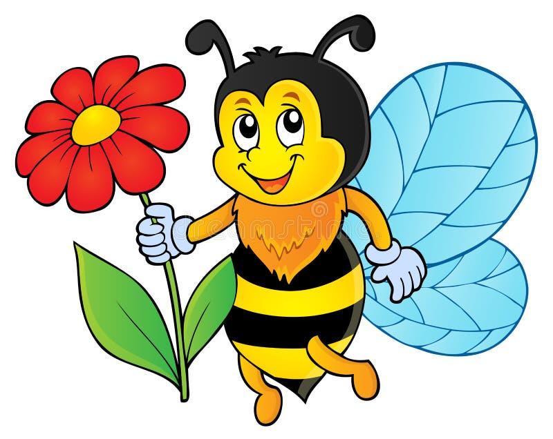 Abelha feliz que guarda o tema 1 da flor ilustração royalty free