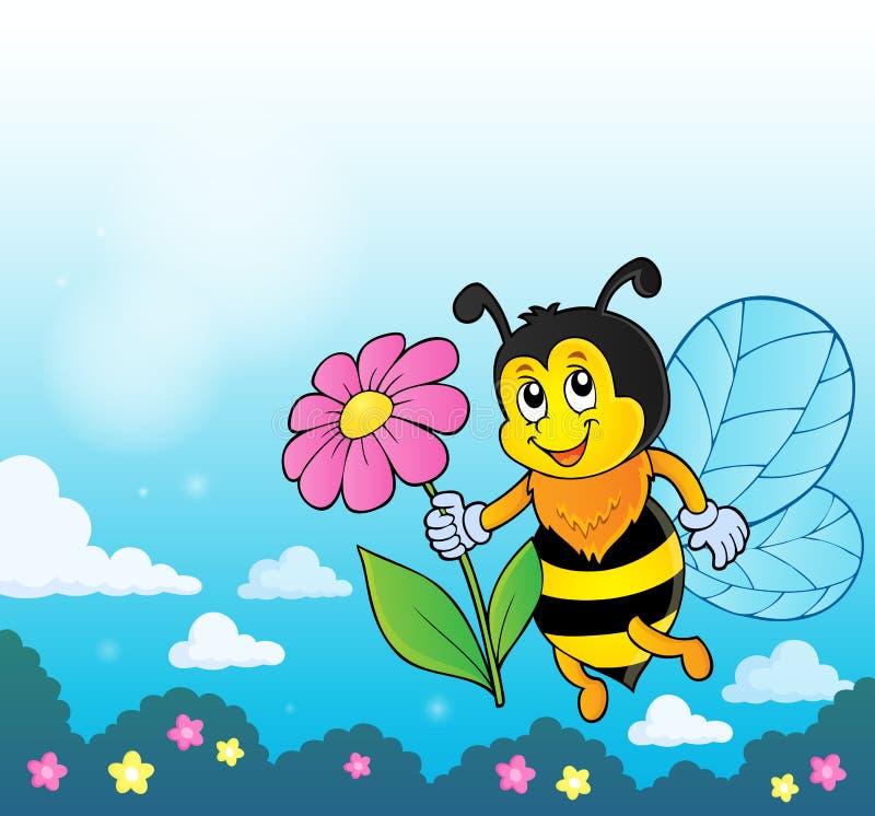 Abelha feliz que guarda o tema 4 da flor ilustração royalty free