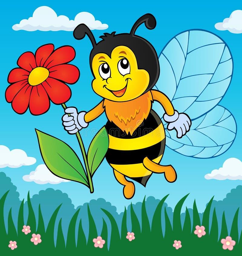 Abelha feliz que guarda o tema 3 da flor ilustração stock