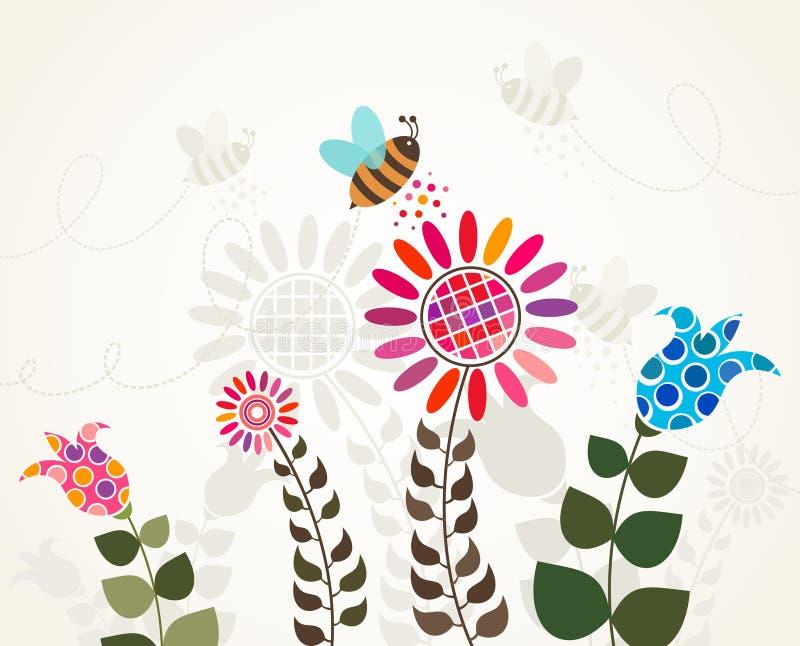 Abelha na flor ilustração royalty free