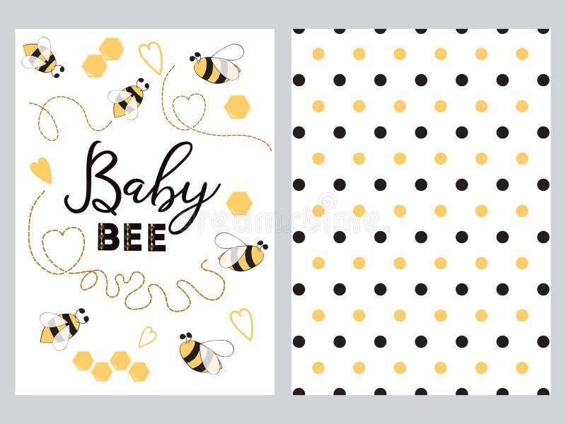 A abelha recém-nascida do bebê do texto do projeto da bandeira decorou o grupo doce do fundo do ponto de Plka do mel do coração d ilustração royalty free