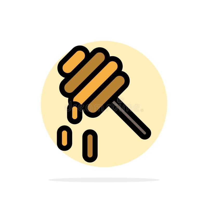 Abelha, saudável, ícone da cor de Honey Abstract Circle Background Flat ilustração royalty free
