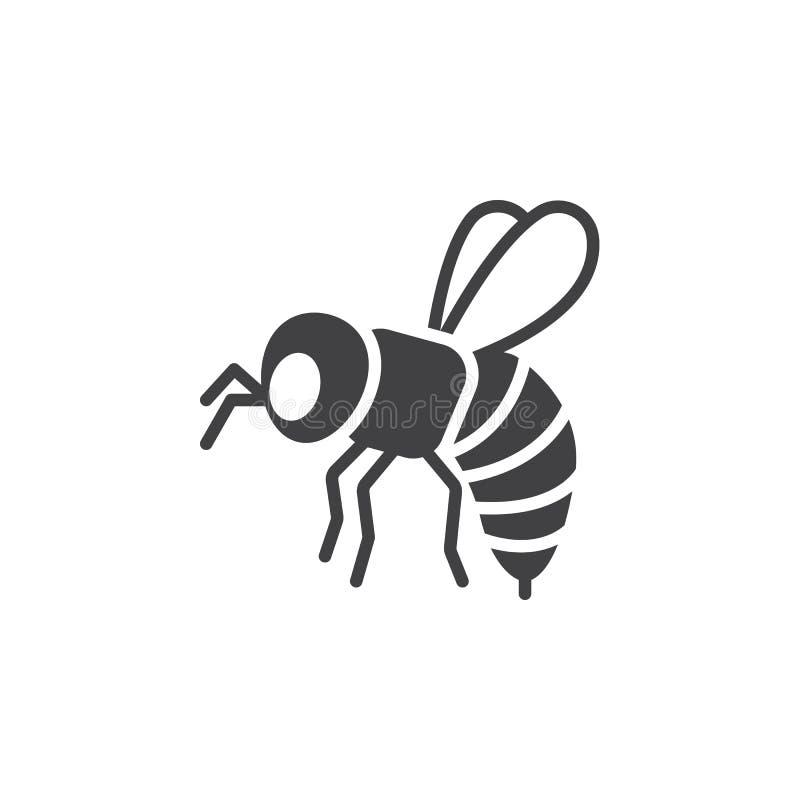 A abelha, vetor do ícone da vespa, encheu o sinal liso ilustração stock