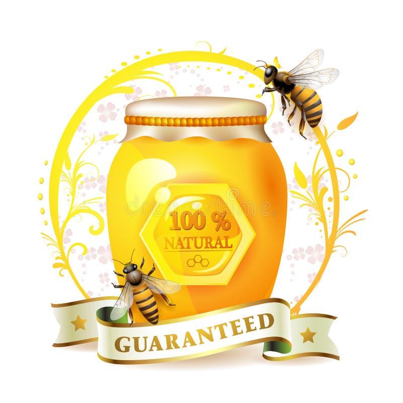 Abelhas com frasco e mel de vidro ilustração do vetor