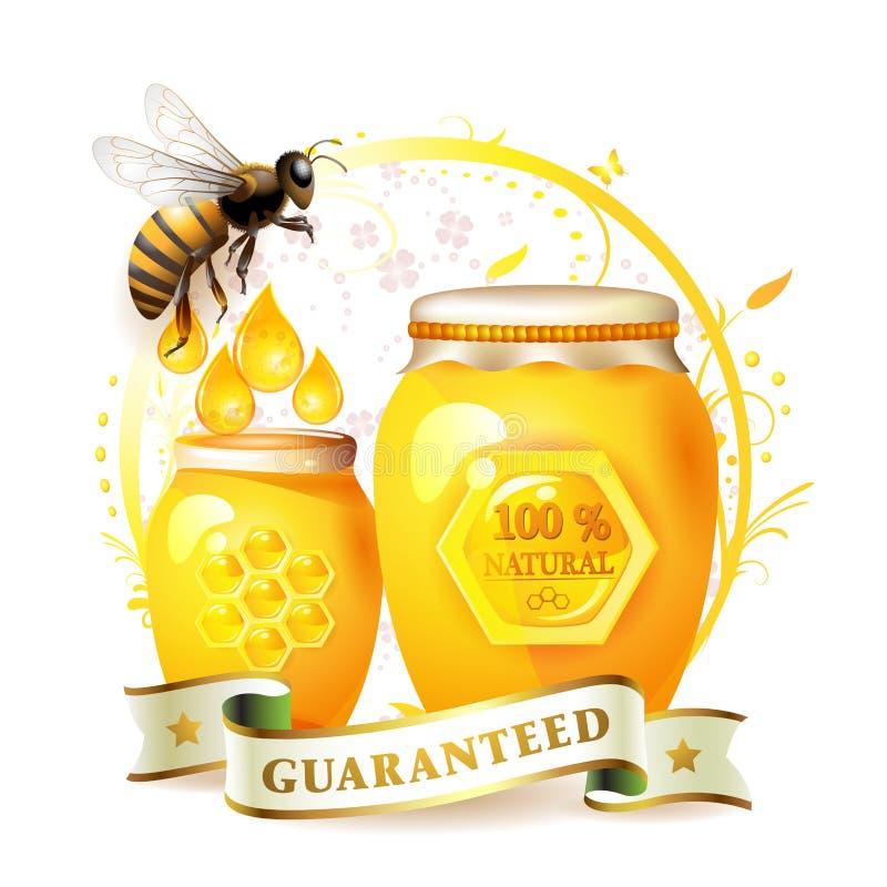Abelhas com frasco e mel de vidro ilustração royalty free