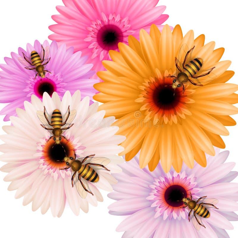 Abelhas de trabalho em flores ilustração royalty free
