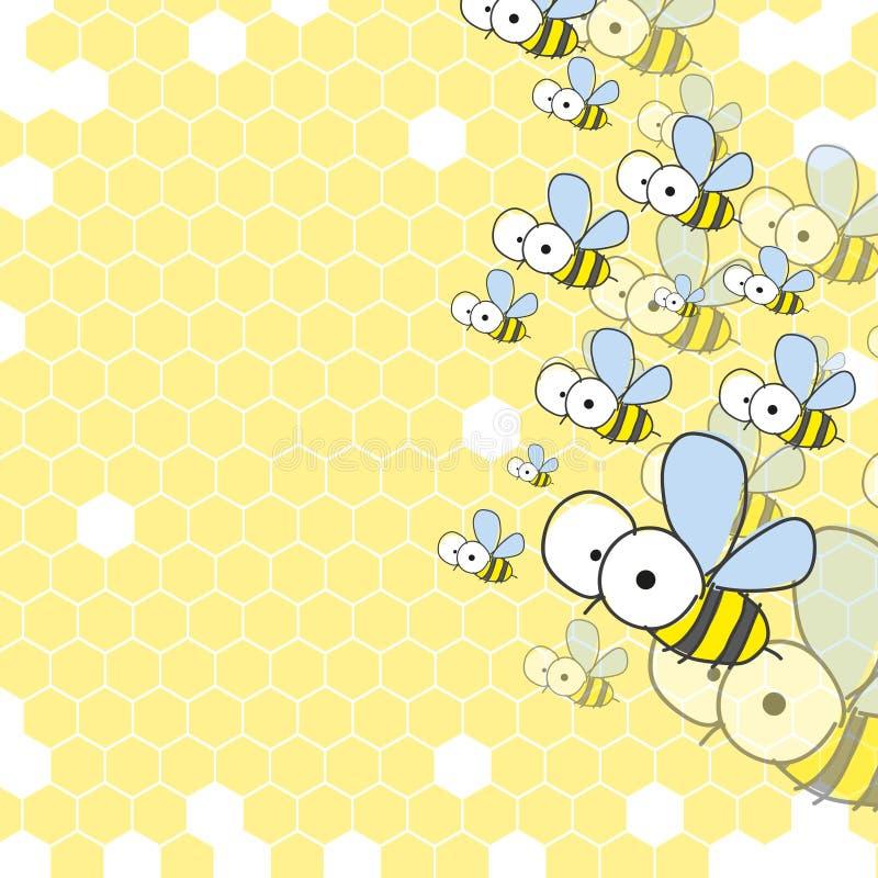 Abelhas e favo de mel. Fundo da mola. ilustração royalty free