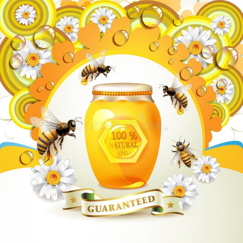 Abelhas e favos de mel ilustração stock