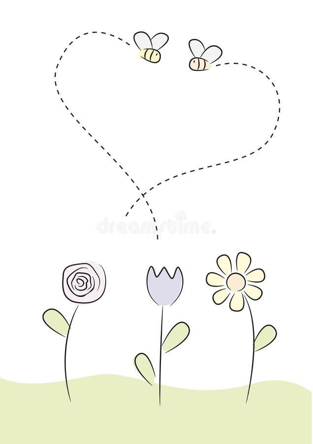 Abelhas e flores ilustração do vetor