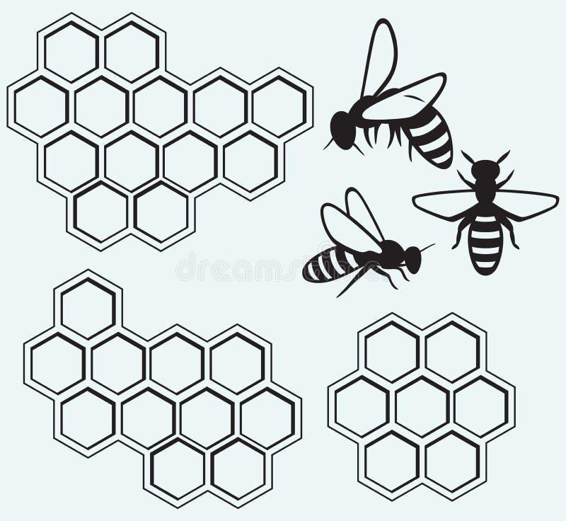 Abelhas em pilhas do mel ilustração stock