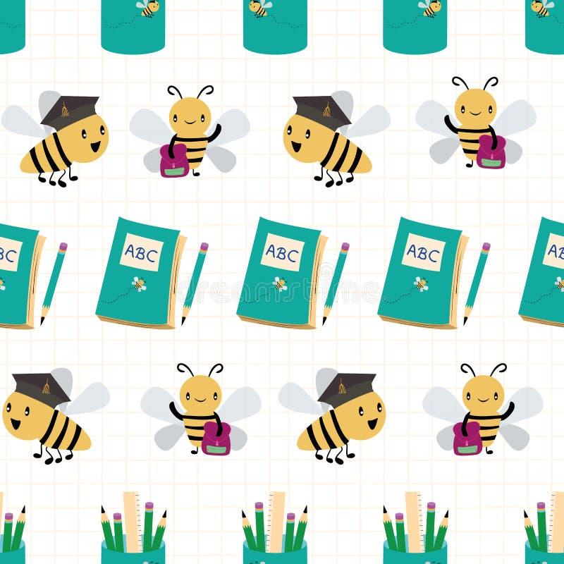 Abelhas ocupadas bonitos com os livros, os sacos e os lápis indo para trás ao projeto da escola Teste padrão sem emenda do vetor  ilustração stock