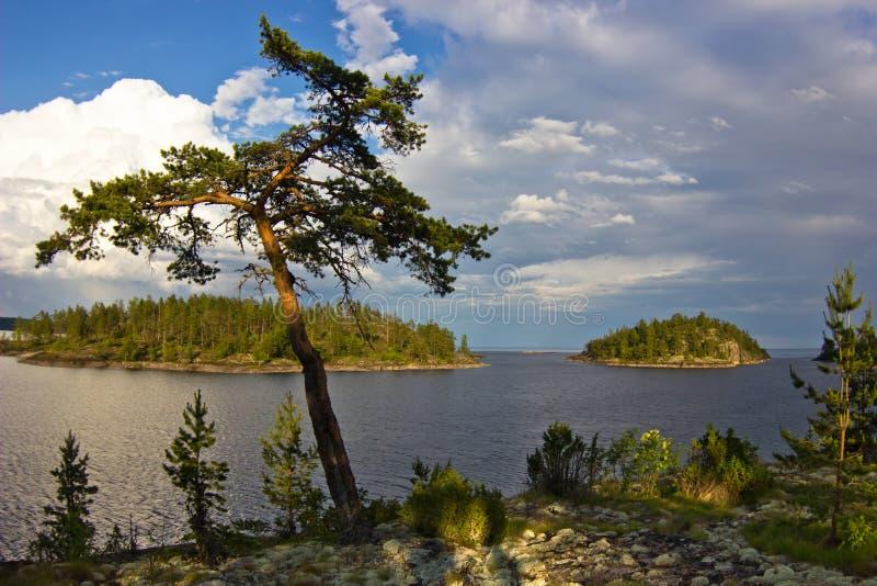 Abend auf Ladoga See, Karelien stockfoto