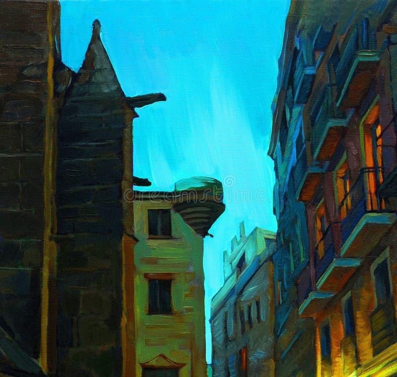 Abend und Regen in gotischem Viertel Barcelonas vektor abbildung