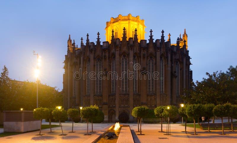 Abendansicht der Kathedrale von Mary Immaculate stockbild