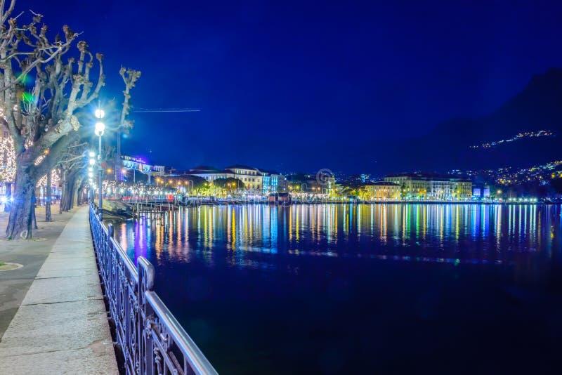 Abendansicht in Lugano stockbild