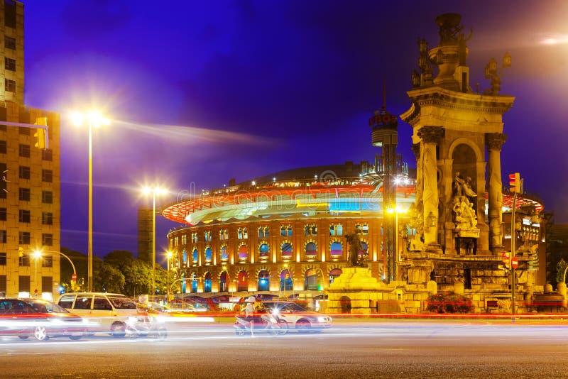 Abendansicht von Plaza de Espana lizenzfreie stockfotografie