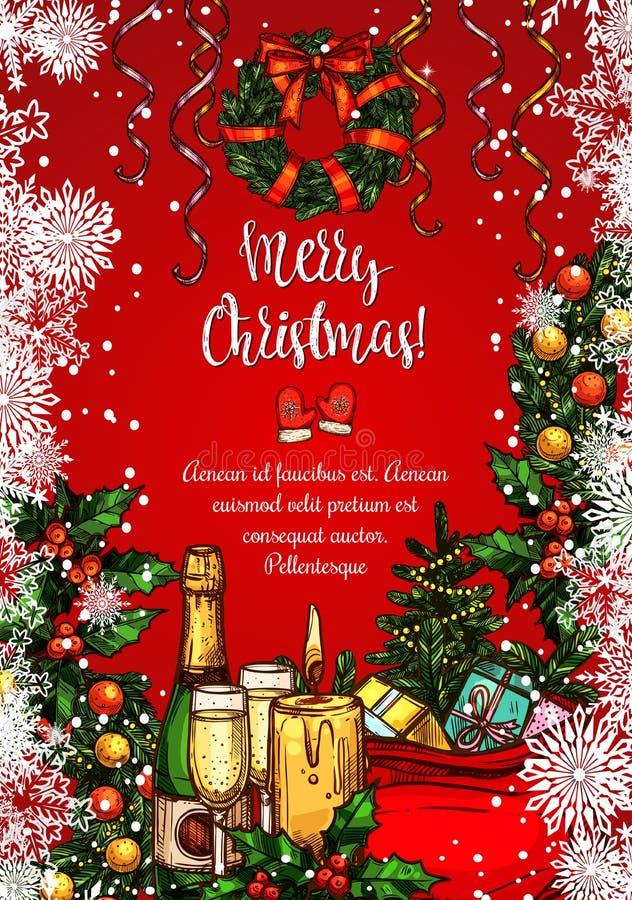 Abendessen-Skizzenfahne des Weihnachtsfeiertags festliche vektor abbildung