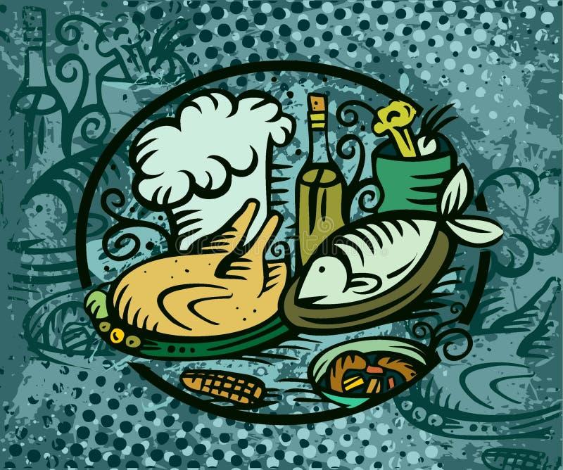 Abendessenfischhuhn lizenzfreie abbildung
