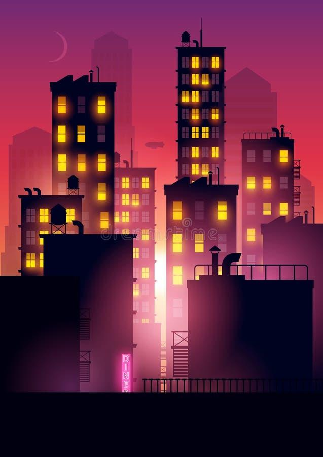 Abendrot über der Stadt vektor abbildung
